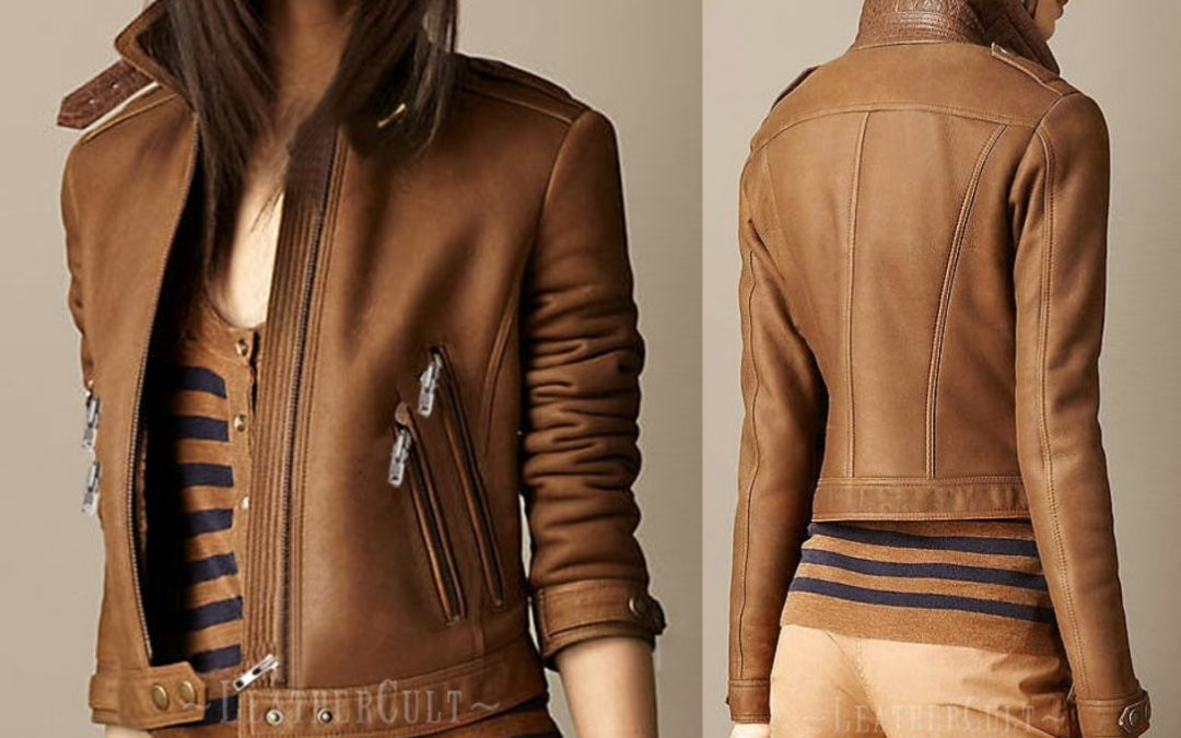 Short And Impressive Leather Jacket For The Ladies