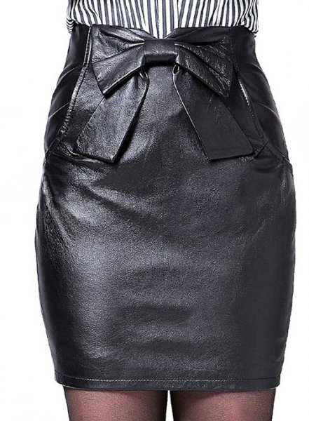Bow Front Leather Skirt - # 412
