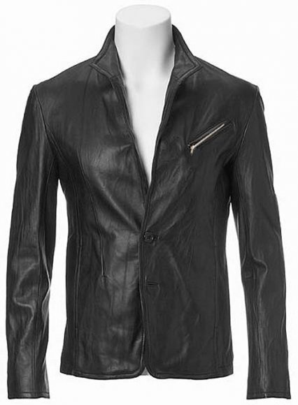 Zipper Leather Blazer #3