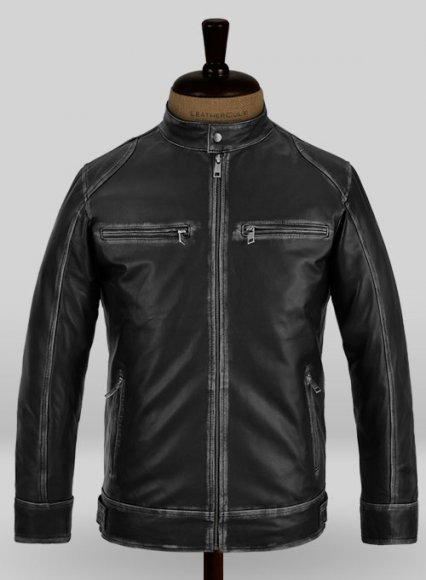 Rubbed Black Leather Jacket # 654