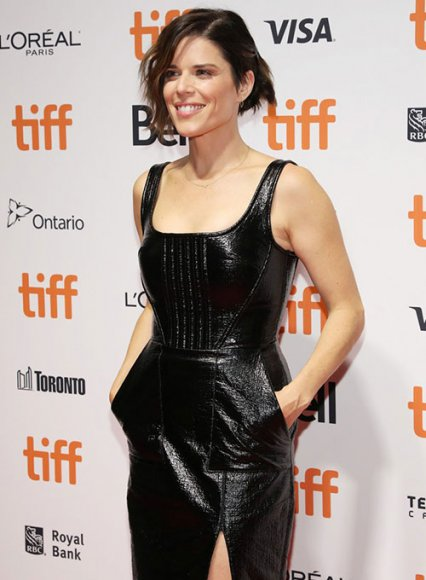 Neve Campbell Leather Dress
