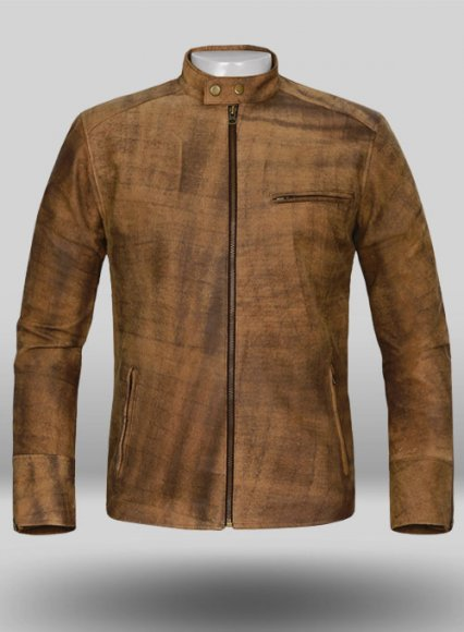 Abstract Brown Leather Cycle Jacket #3