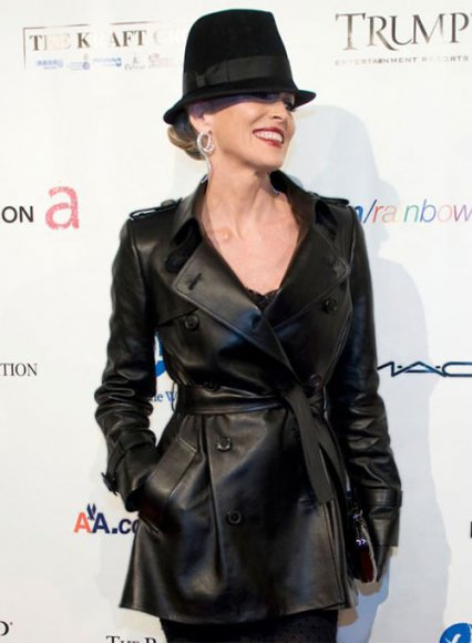 Sharon Stone Leather Trench Coat