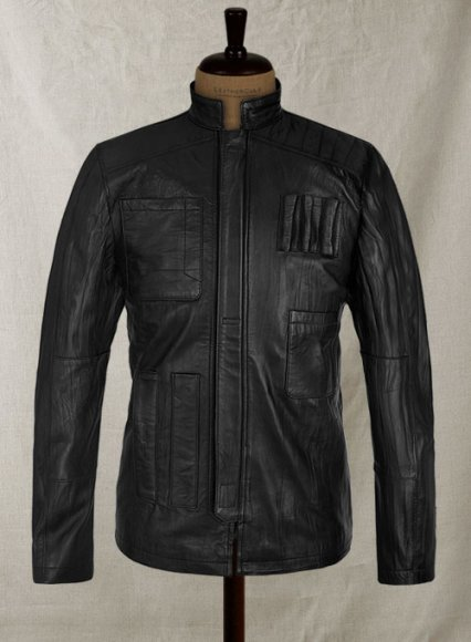 Wrinkled Black Harrison Ford Star Wars Leather Jacket