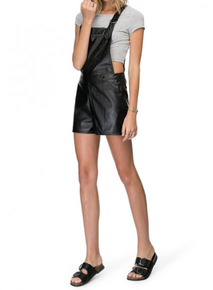 Leather Dungaree Shorts #2