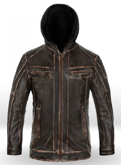 Retro Leather Jacket with Hoodie