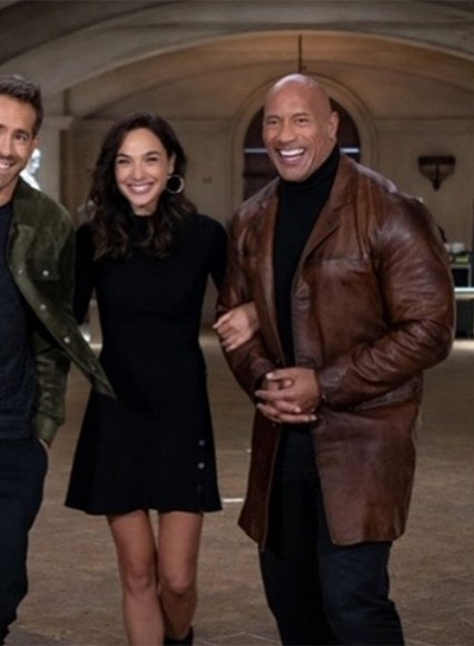 Dwayne Johnson Red Notice Leather Trench Coat