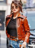 Selena Gomez Coach SS18 Leather Jacket