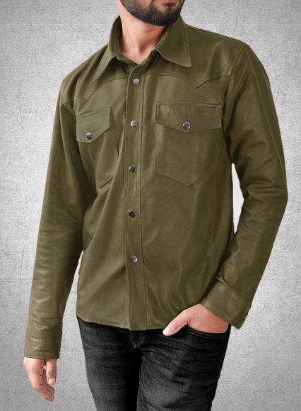 Light Weight Unlined Mauve Green Leather Shirt