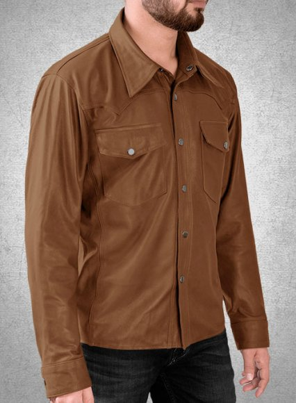 Light Weight Unlined Tan Leather Shirt