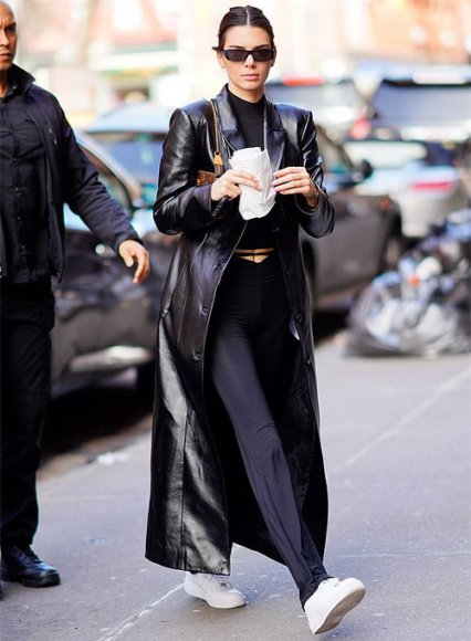 Kendall Jenner Leather Long Coat