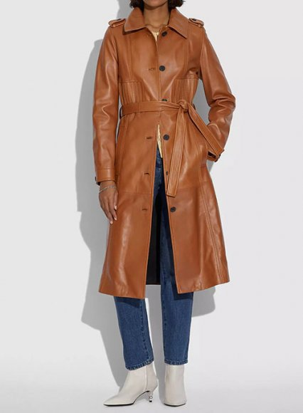 Street Style Leather Long Coat