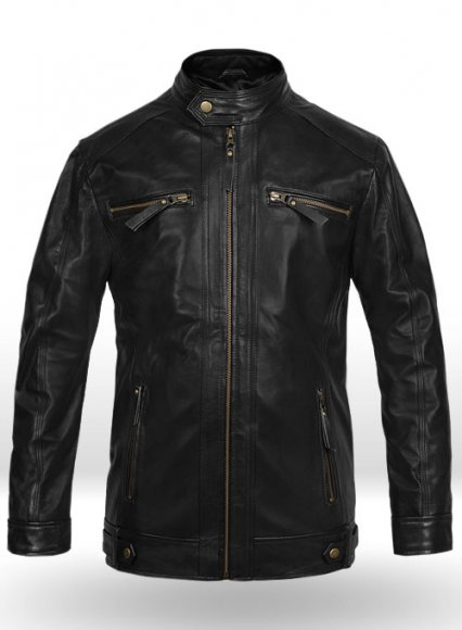 Black Leather Jacket # 660