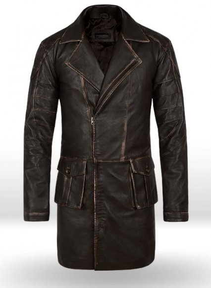 Rubbed Brown Will Smith I Robot Leather Trench Coat