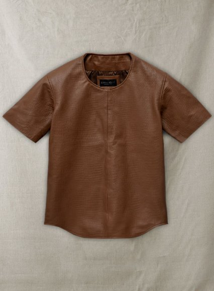Crocodile Brown Leather T-Shirt