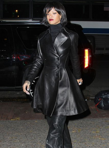 Rihanna Leather Trench Coat