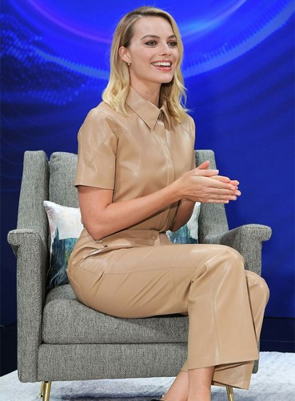 Margot Robbie Leather Shirt and Pants Set