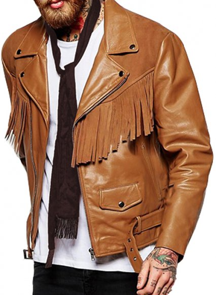 Leather Fringes Jacket #1009