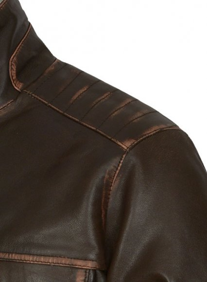 Tribal Rubbed Brown Leather Jacket