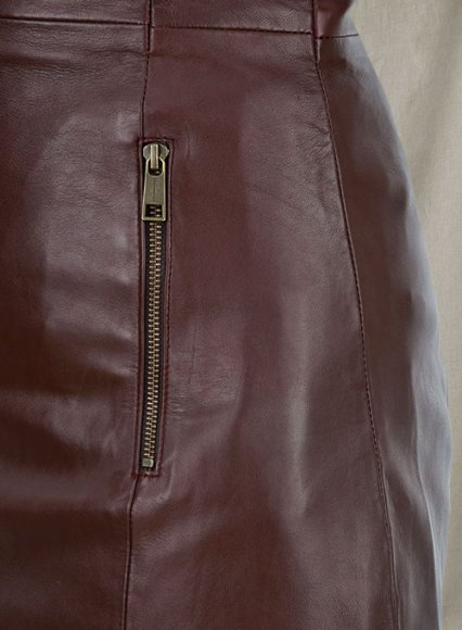 Soft Maroon Wax Miller Leather Dress - # 765