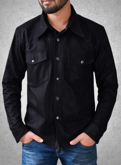 Light Weight Unlined Deep Blue Leather Shirt