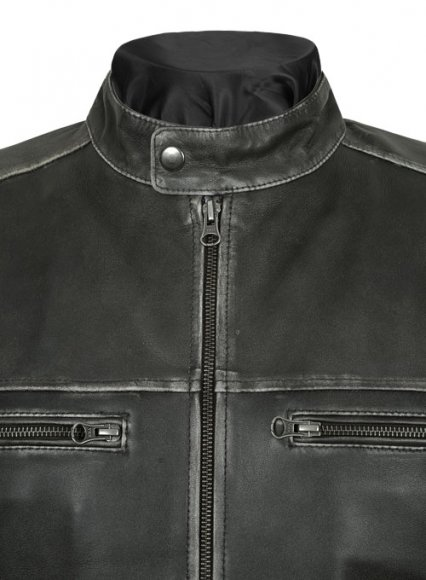 Zen Rubbed Charcoal Leather Jacket