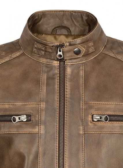 Rubbed Espanol Timber Brown Leather Jacket # 653