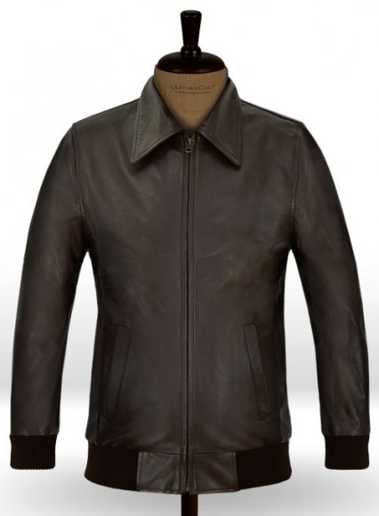 Brown Wax Classic Bomber Leather Jacket