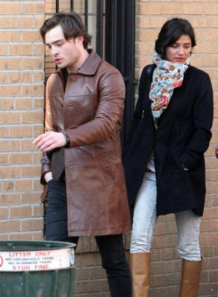 Ed Westwick Leather Trench Coat