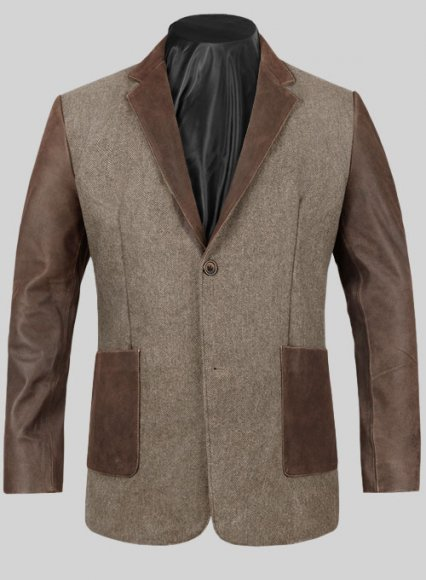 Vintage Dark Brown Herringbone Tweed Leather Combo Blazer # 652
