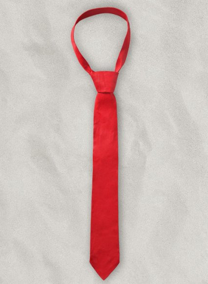 Candy Red Stretch Leather Tie