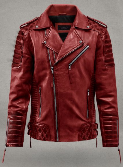 Charles Burnt Red Leather Jacket