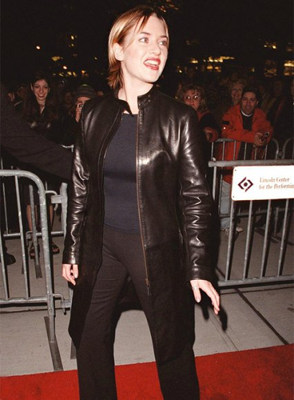Kate Winslet Holy Smoke NewYork Premiere Leather Long Coat