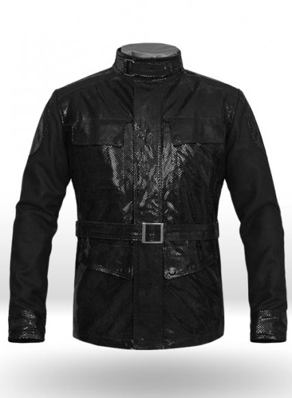 Snake Emboss Black Avengers Age of Ultron Leather Jacket