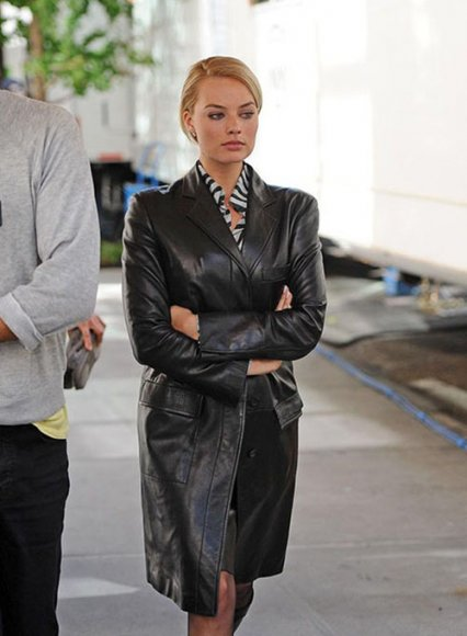 Margot Robbie Wolf Of Wall Street Leather Long Coat