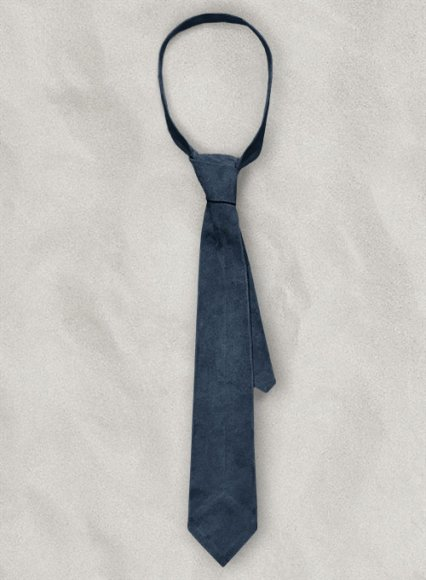Blue Suede Leather Tie