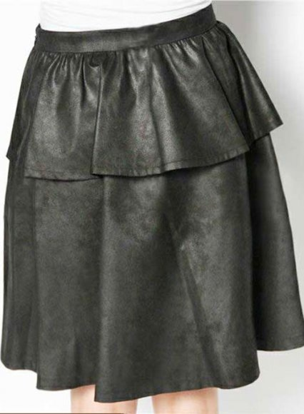 Peplum Flare Leather Skirt - # 415