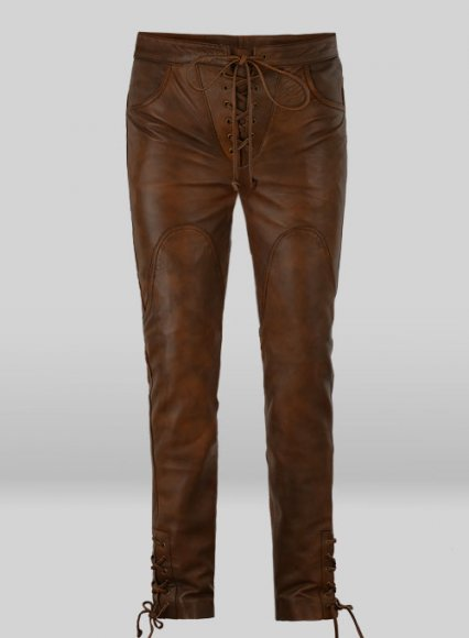 Cowboy Lace up Leather Pants