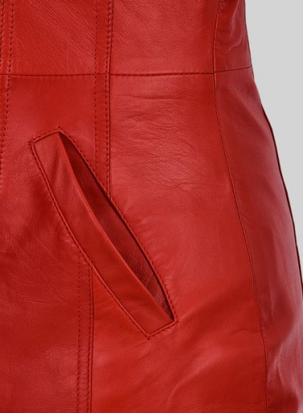 Red Motivated Biker Leather Dress #772