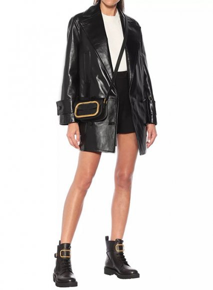 Vogue Doble Breasted Leather Trench Coat