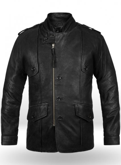 Distressed Black Leather Jacket # 106