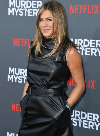 Jennifer Aniston Murder Mystery Premiere Leather Dress