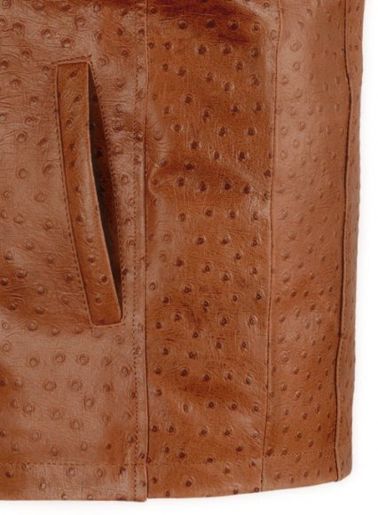 Tan Brown Ostrich Leather Hipster Jacket #2
