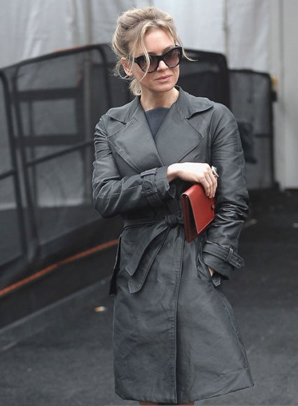 Renee Zellweger Leather Long Coat