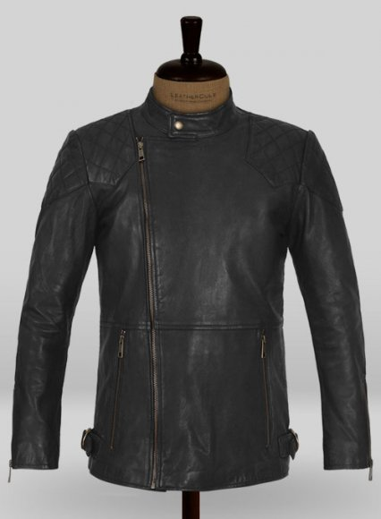 Soft Rich Black Washed & Wax Leather Jacket #613