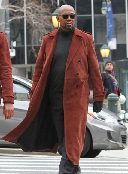 Samuel L. Jackson Shaft Leather Long Coat
