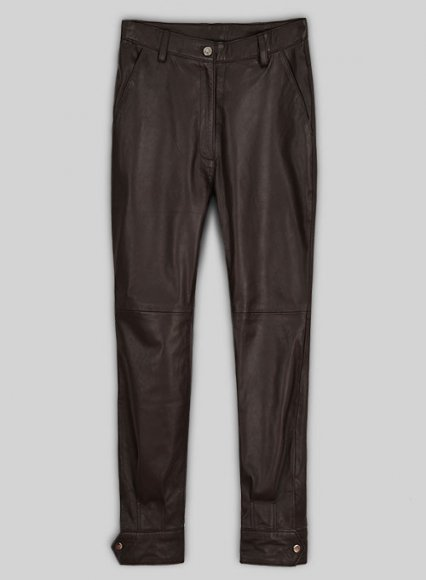 Soft Brown Selena Gomez Leather Pants #1