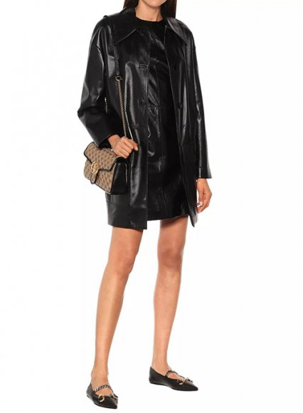 Jackie Leather Trench Coat
