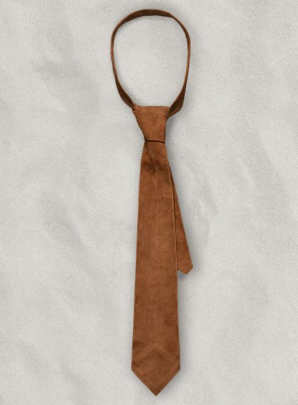Soft Tan Brown Suede Leather Tie