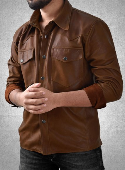 Light Weight Unlined Brown Leather Shirt